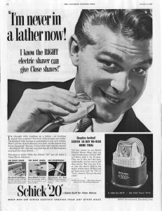 """Schick 20 electric shaver 1953 ad"" by Schick Incorporated, Stamford, Conn. - Saturday Evening Post, October 3, 1953 ( digital image from http://www.afka.net/mags/Saturday_Evening_Post.htm ). Licensed under Public Domain via Wikimedia Commons"