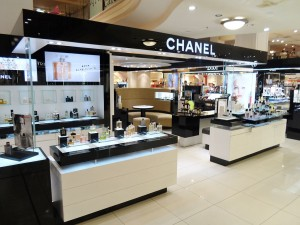 French luxury brand Chanel's Fragrance and Skincare counter at the Sydney City branch of Australian department store MYER in 2013. Attribution: Pear285 at English Wikipedia [CC0], via Wikimedia Commons