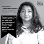 BBF MOURNS THE UNTIMELY DEMISE OF LUNA SHAMSUDDOHA